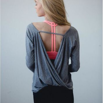 Loose backless backless unlined upper garment unlined upper garment of yoga exercise Grey