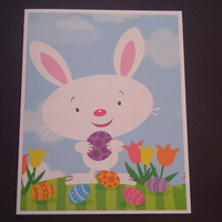 White Easter Bunny with Easter Eggs and Flowers
