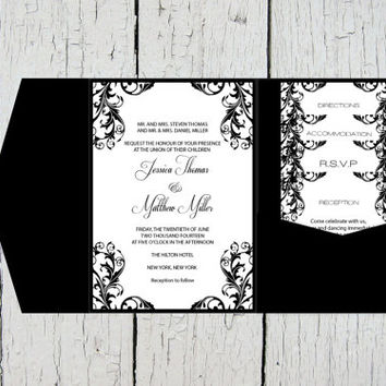Pocket Wedding Invitation Templates Set - Black Elegant Damask DIY Printable Editable PDF Template Set - Instant Download - DIY You Print