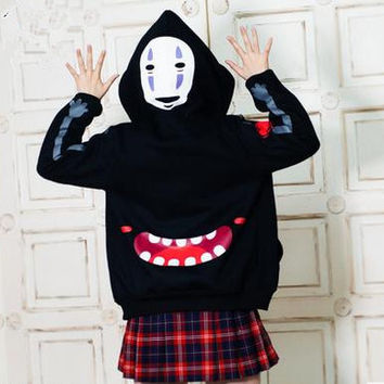 S-2XL [Spirited Away] No Face Male Fleece Hoodie Sweater Jumper CP154342