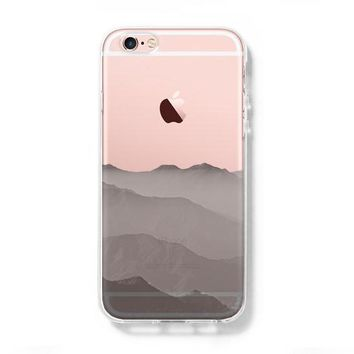 Misty Cloudscape with mountain iPhone 6s Clear Case iPhone 6 Cover iPhone 5S 5 5C Hard Transparent Case C019