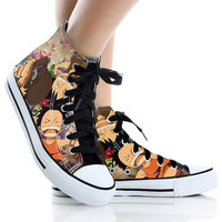 Luffy One piece Canvas shoes,High Top,canvas shoes,Painted Shoes,Special Christmas Gift,Birthday gift,Men Shoes,Women Shoes