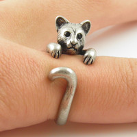 Animal Wrap Ring - Cougar / Panther - White Bronze - Adjustable Ring - keja jewelry