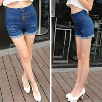 High  Waist  jeans shorts 2016 Fashion Denim Shorts Women Loose Hot Girls shorts female Pockets Button Fly  denim shorts jeans
