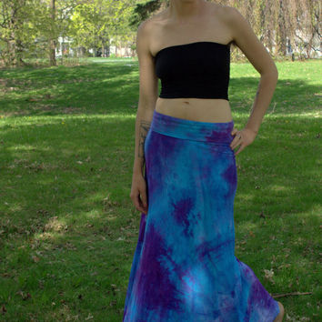 Organic cotton maxi long aline hand dyed skirt in blue and purple