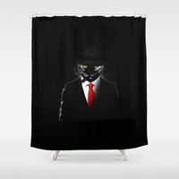 Mobster Cat Shower Curtain by Nicklas Gustafsson