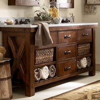 BENCHWRIGHT DOUBLE SINK CONSOLE - RUSTIC MAHOGANY FINISH