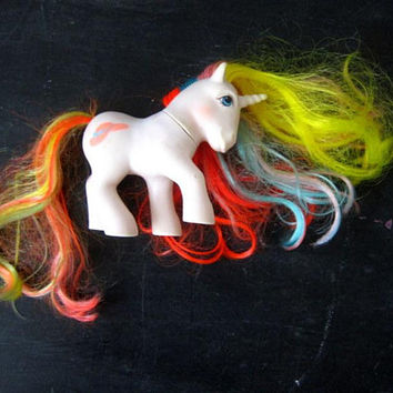 Vintage BOUQUET My Little Pony Unicorn Horse Doll Small Shelf Display Hat Symbol Rainbow Hair 1985 Hasbro Toy