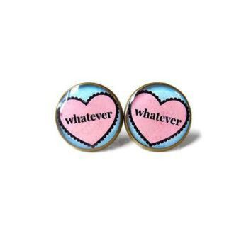 VONR3I Whatever Candy Heart Pink Stud Earrings - ANTI Valentines Day Jewelry - Pastel Goth In