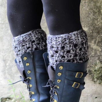 Gray Crochet Boot Cuff, Womens Boot Cuff, Boot Topper Faux, Womens Boot Socks Crochet Boot Cuff Boot Tops Hand Crocheted Items Teen Gift