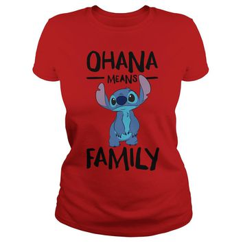 Stitch ohana means family Premium Fitted Ladies Tee