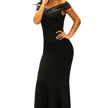 Chicloth Black Off the Shoulder Sheer Stripe Fishtail Evening Gown
