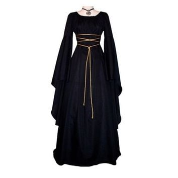 2018 Women Fashion Vintage Style Women Medieval Dress Gothic Dress Floor Length Women Cosplay Dress Retro Long Gown Dress