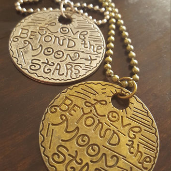 Vintage style round charm Plaque necklace Love alphabetical charm antique gold and silver long necklace