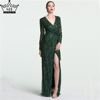 Luxury Dark Green Long Sleeve Evening Dresses 2017 Sexy Deep V-neck Side Split Beaded Sequins Gray Dubai Arabic Robe De Soiree