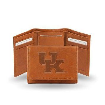 Kentucky UK Wildcats Embossed Brown Leather Trifold Wallet NEW in Gift Tin