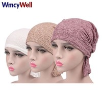 WmcyWell 3Pcs/lot Women Cancer Chemo Hat Beanie Scarf Turban Head Wrap Cap Summer Women Knitted Casual Cotton Hat