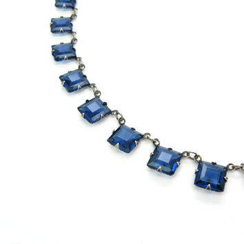 Art Deco Sapphire Jewelry. Princess Cut Crystal Necklace, Open Backs. Blue Glass & Sterling Silver Choker. Vintage 1920s Art Deco Jewelry