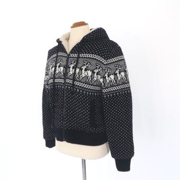 Vintage 1970s 80s East Hollow Road  Reindeer Snowflake Sweater Hooded Jacket Fall Knit Woven Lambswool Coat Nordic Ski Hiking Boho Hipster