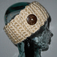 White Cream Headband Ear Warmer Hair Band with Natural Coconut Button Ready to Ship