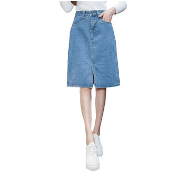 S-5XL 2017 Winter Spring High Waist Jean Skirt Casual Preppy Style Sexy Slit Jeans Skirts Women Vintage Short A-line Denim Skirt