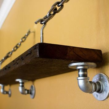 Old Reclaimed Wood Shelf with Pipe and Chain