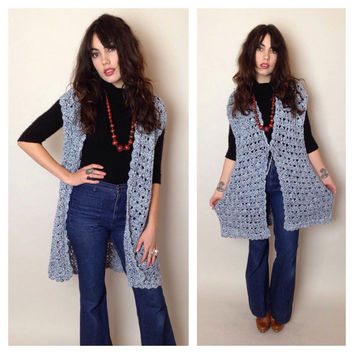 70's CROCHET LONG VEST - handmade - white and blue - fits most sizes