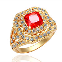 Red Gem Zirconia Gold Plated Ring
