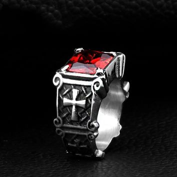 Vintage Friar Men's Double Cross Ring With Red Stone