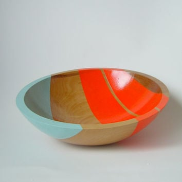 "Modern Neon Hardwood 12"" Salad Bowl, Electric Orange"