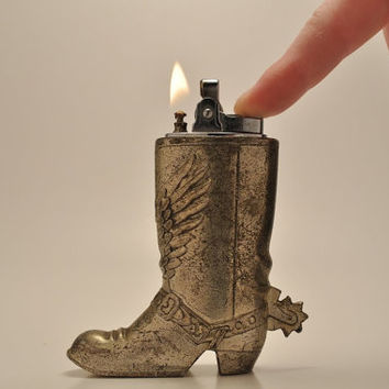 Working Cowboy Boot Table Lighter