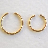 14K Gold Filled Ear Cuff or Fake Nose Ring 2Pcs Set