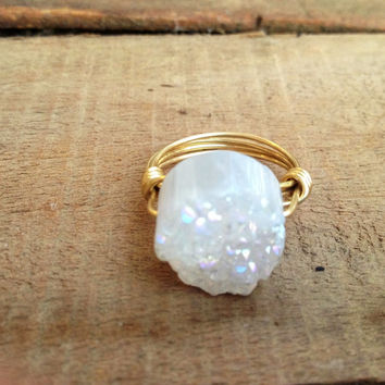 Bourbon & Boweties White Druzy Ring