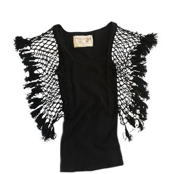 Women top black fringe macrame by tratgirl