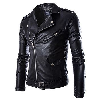 Men Leather Jacket Fashion PU  Male White Leather Motorcycle Jacket Coats  Mens Brand Clothing Coat Black Brown M-3XL
