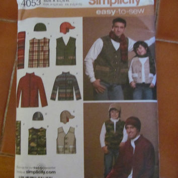 Sale Uncut 2006 Simplicity Easy To Sew Sewing Pattern, 4053! Hats, Scarves, Vests, Fishing Vests, Coats, Size S-L Mens, Size S-Xl Mens