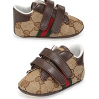 Ace Canvas Grip-Strap Sneaker, Brown, Infant - Gucci