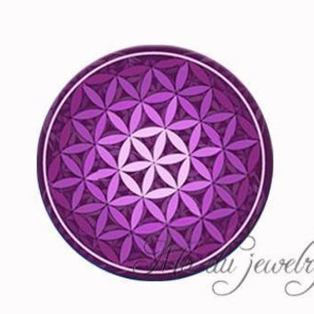 Green purple blue Flower Of Life necklace Om flower pendant necklace mandala jewelry Yoga necklaces Zen jewelry choker necklace 4