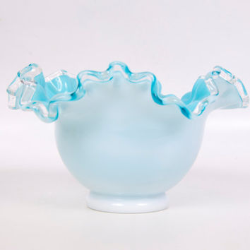 Vintage Fenton Aqua Bowl Silver Crest Ruffled Edge Glass Pastel Blue Overlay Milk Glass Art Glass Vase Candy Dish
