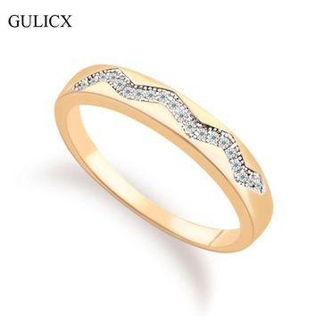 GULICX 2017 Simple Size 6 Fashion Ring for Women White and Gold-color Ring Simple Wave Crystal CZ Zircon Wedding Bands R235