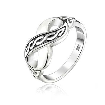 BFF Irish Love Knot Celtic Infinity Band Ring 925 Sterling Silver
