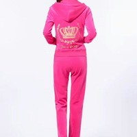 Juicy Couture Fashion Casual Long Sleeve Zipper Hoodie Long Pants J Velvet Two Piece Set Rose red G-ALNZ