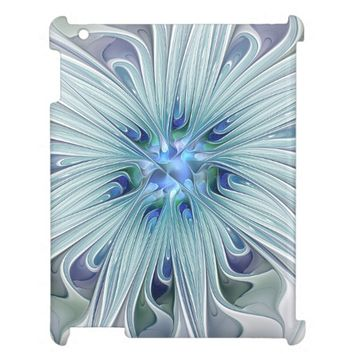 Floral Beauty Abstract Modern Blue Pastel Flower Cover For The iPad
