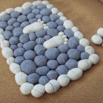 Wool Felt Stones Rug Carpet Home decor by lovehoneysuckle on Etsy