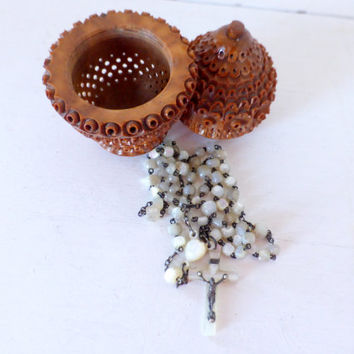 Antique French, Coquilla Nut, Carved Box and Mother Of Pearl, Rosary