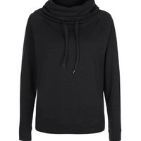 Black Cowl Neck Sports Jumper