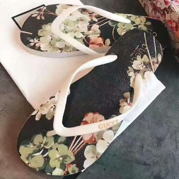 Gucci Casual Fashion Women Floral Print Sandal Slipper Shoes