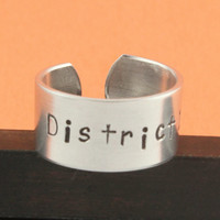 District 12 Ring - The Hunger Games - Adjustable Aluminum Ring - Hand Stamped Ring
