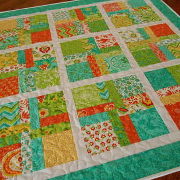 Quilted Square Table Topper in Bright Turquoise Green Yellow and Orange - Moda's Folklore