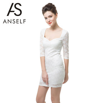 ANSELF New Sexy Women Floral Lace Dress Low V Neck Half Sleeve Zip Back Slim Bodycon Party Lace Office Dress Plus Size White